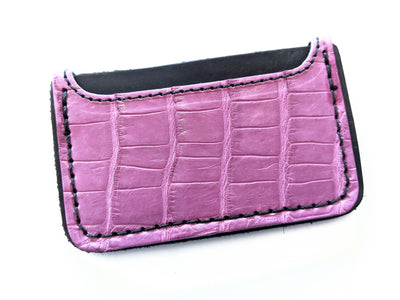 3 Pocket Card Wallet - Mauve Alligator - Anvil Customs