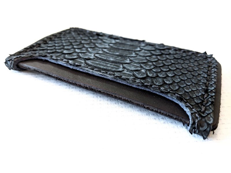 3 Pocket Card Wallet - Vintage Black Python - Anvil Customs