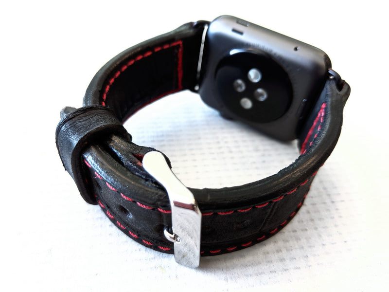 42/44mm Apple Watch Band - Black Alligator with Red Stitch - Anvil Customs
