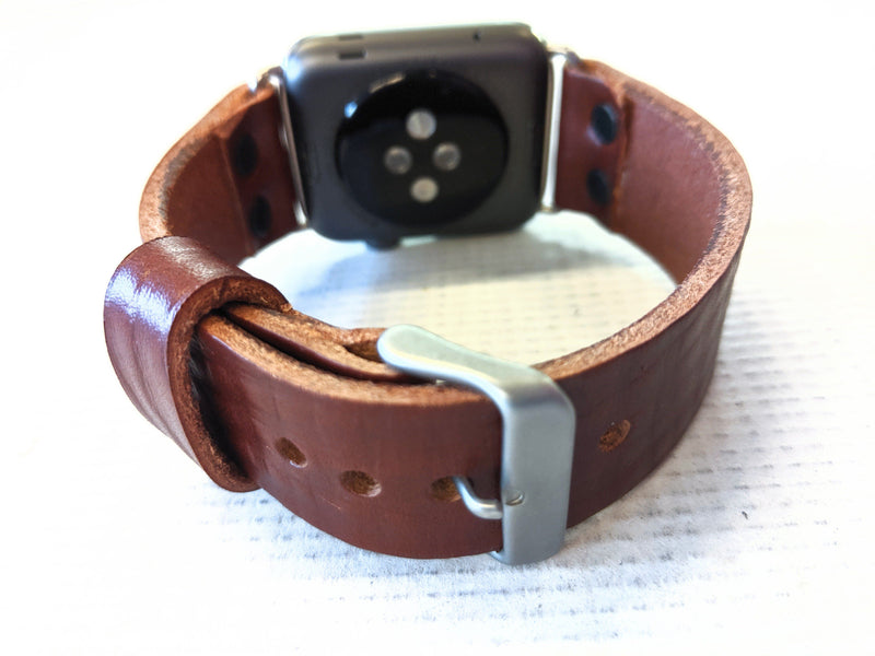 42/44mm Apple Watch Band - Brown Cowhide Leather - Anvil Customs