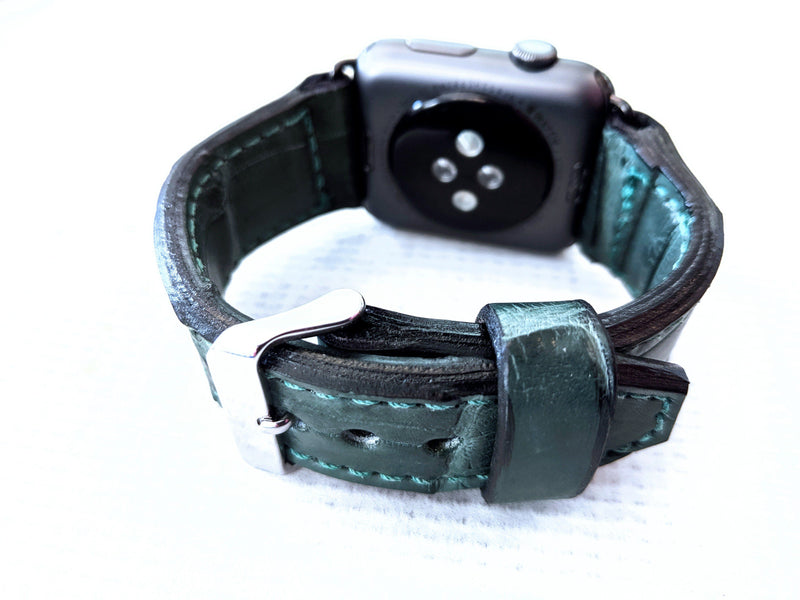 42/44mm Apple Watch Band - Forest Green Alligator - Anvil Customs