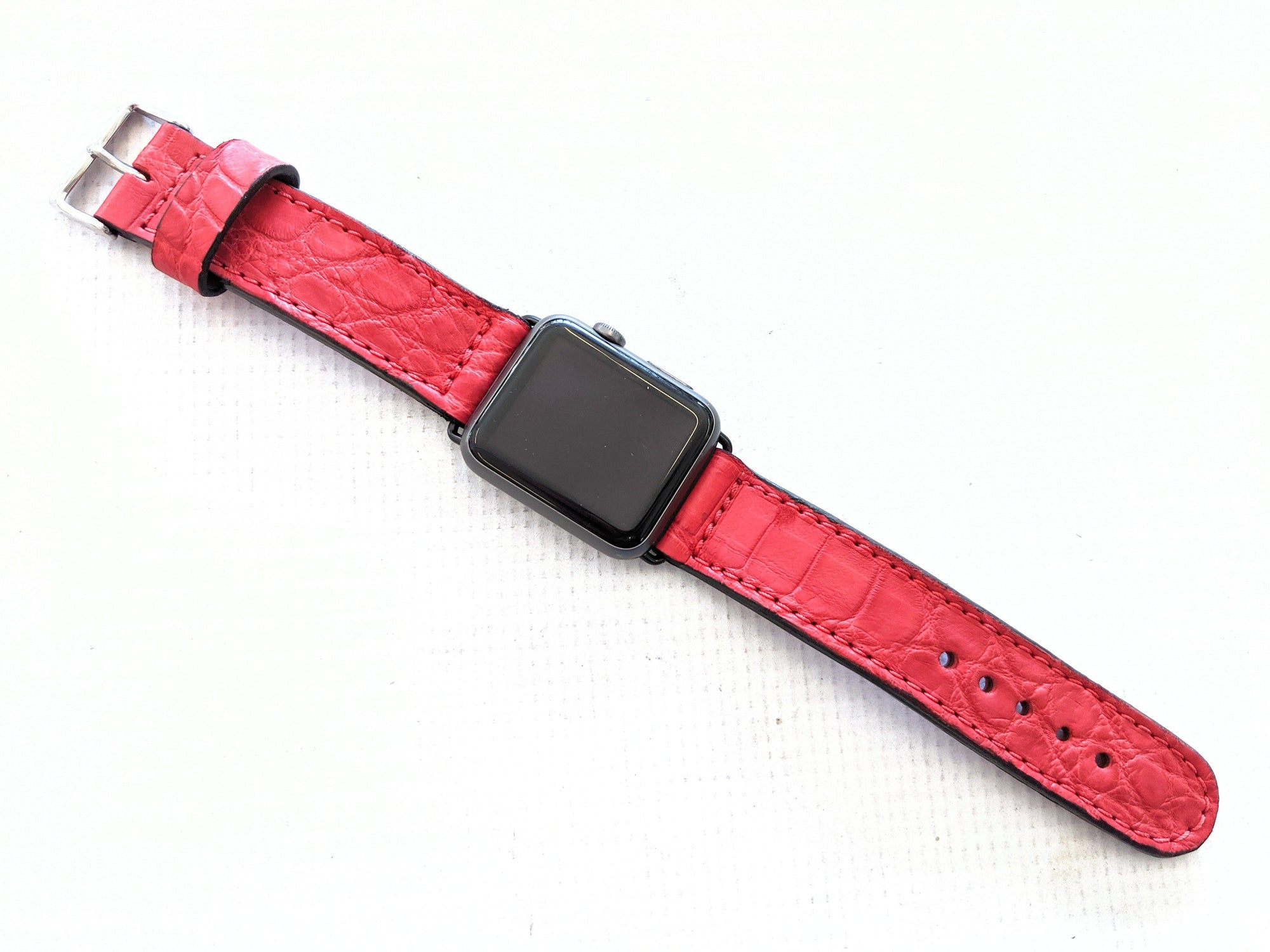 42/44mm Apple Watch Band - Red Alligator - Anvil Customs