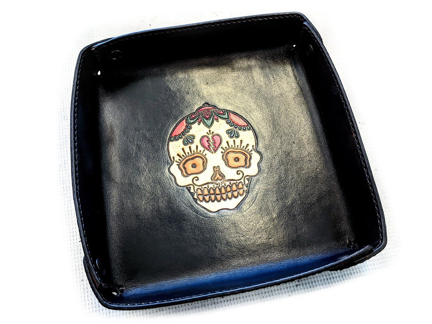 8 Inch EDC Tray - Hand Stained Broken Hearted Skull