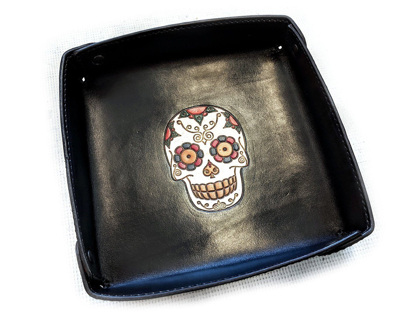 8 Inch EDC Tray - Hand Stained Sugar Skull