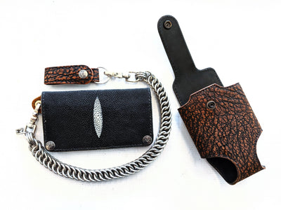 Anvil Collection - Black Stingray Long Chain Wallet with Cognac Elephant Wallet Holster - Anvil Customs