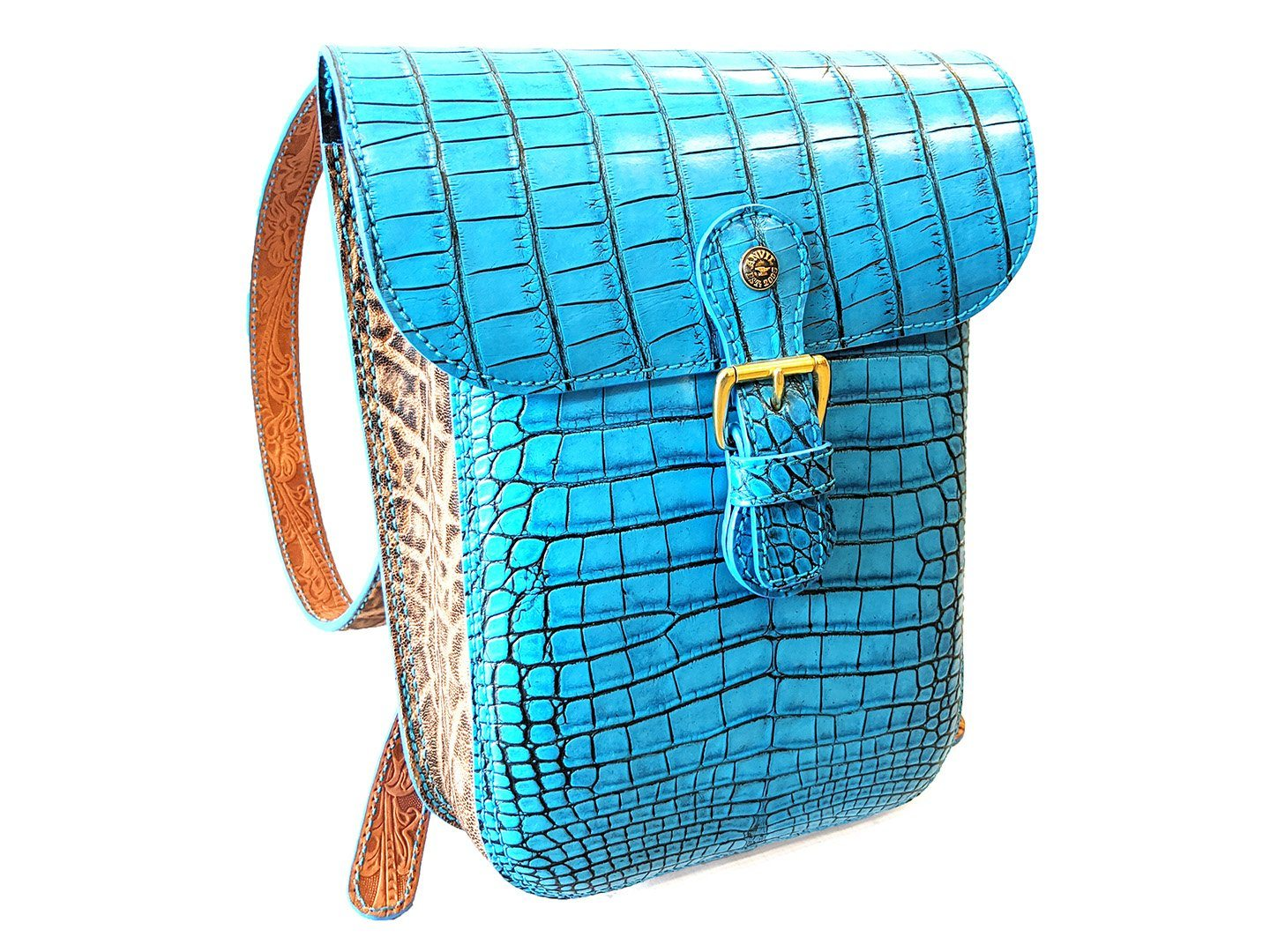 Backpack - Antiqued Aqua Alligator with Vintage Peat Elephant