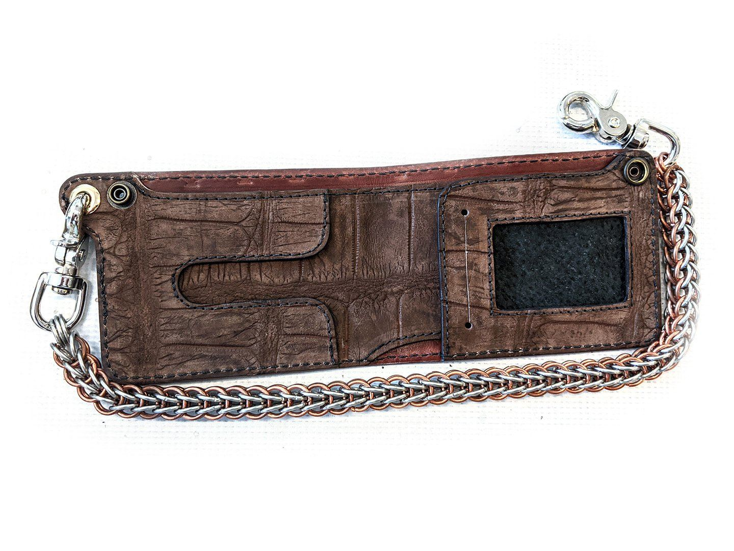 Bifold Chain Wallet - Brown Nubuck Alligator
