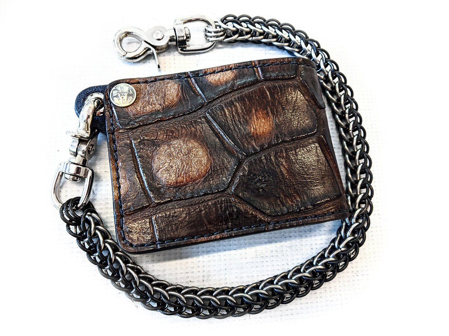 Bifold Chain Wallet - Old Tobacco Alligator 3 - Anvil Customs