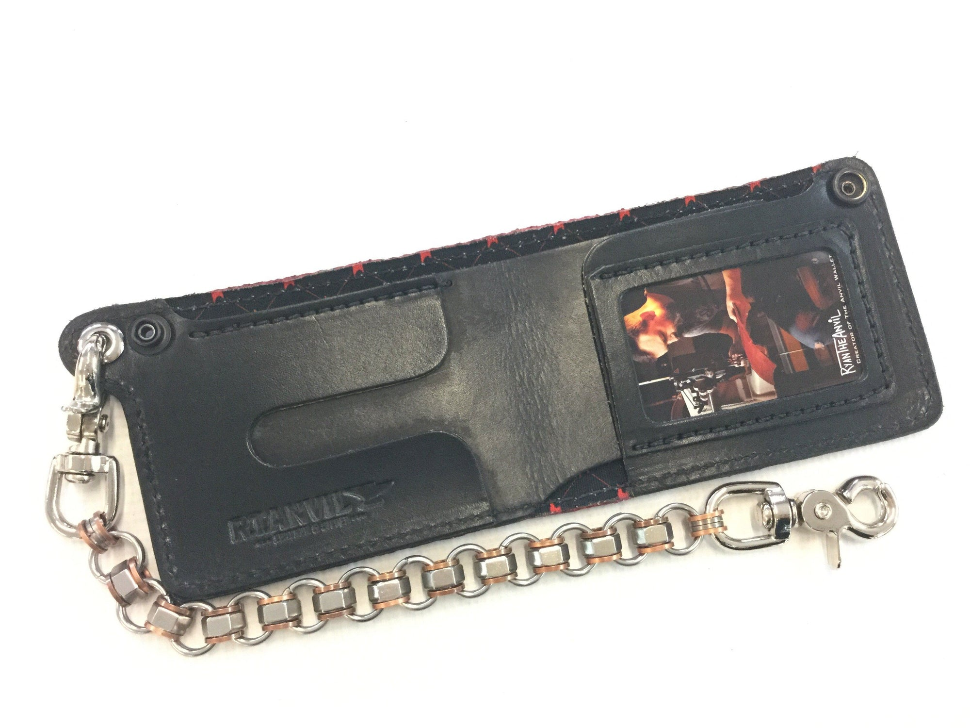 Bifold Fire Hose Chain Wallet - Red - Anvil Customs