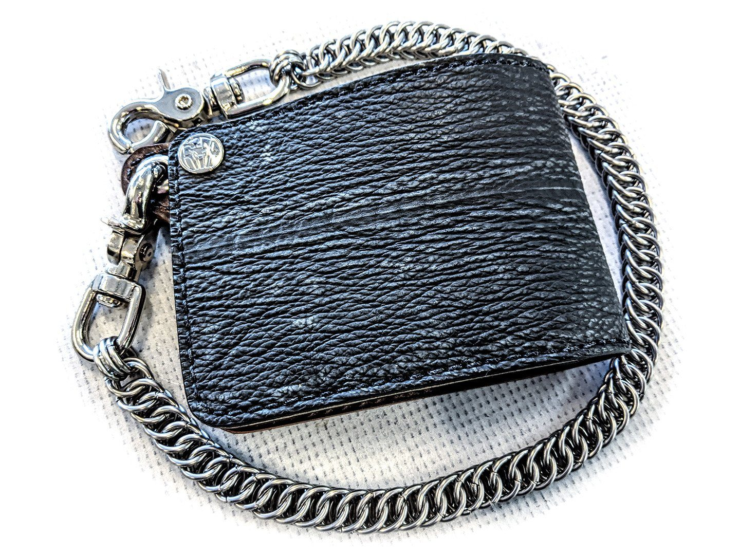 Bifold Leather Chain Wallet - Anthracite Shark