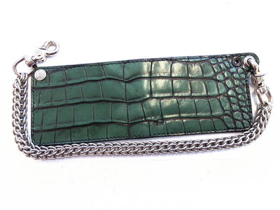 Bifold Leather Chain Wallet - Antiqued Forest Green - Anvil Customs