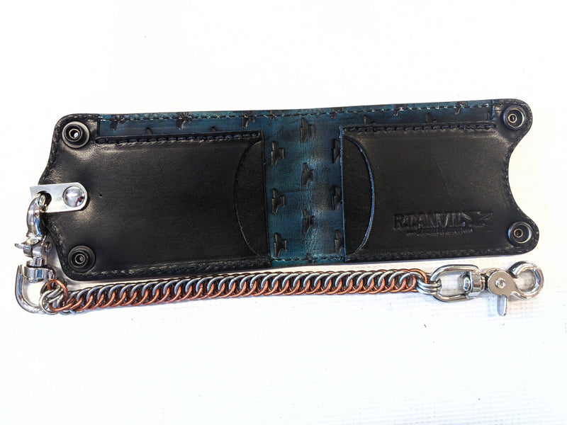 Bifold Leather Chain Wallet - Antiqued Orange Alligator 1 - Anvil Customs