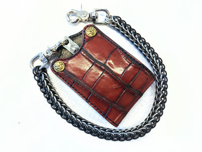 Bifold Leather Chain Wallet - Antiqued Wine Alligator 1 - Anvil Customs