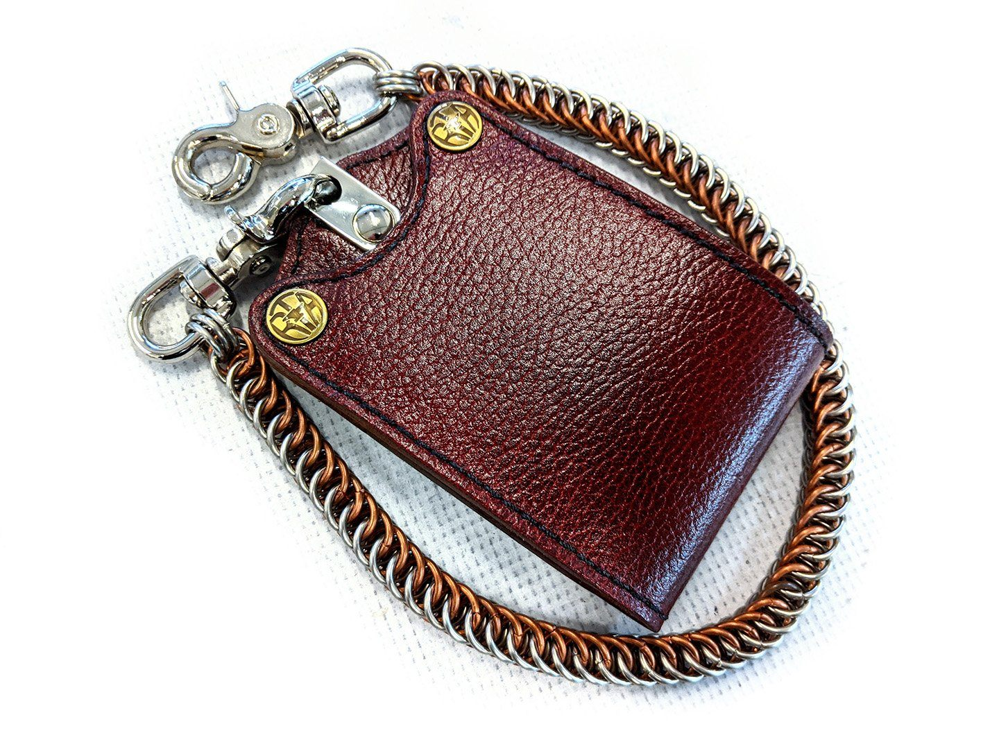 Bifold Leather Chain Wallet - Burgundy Cowhide