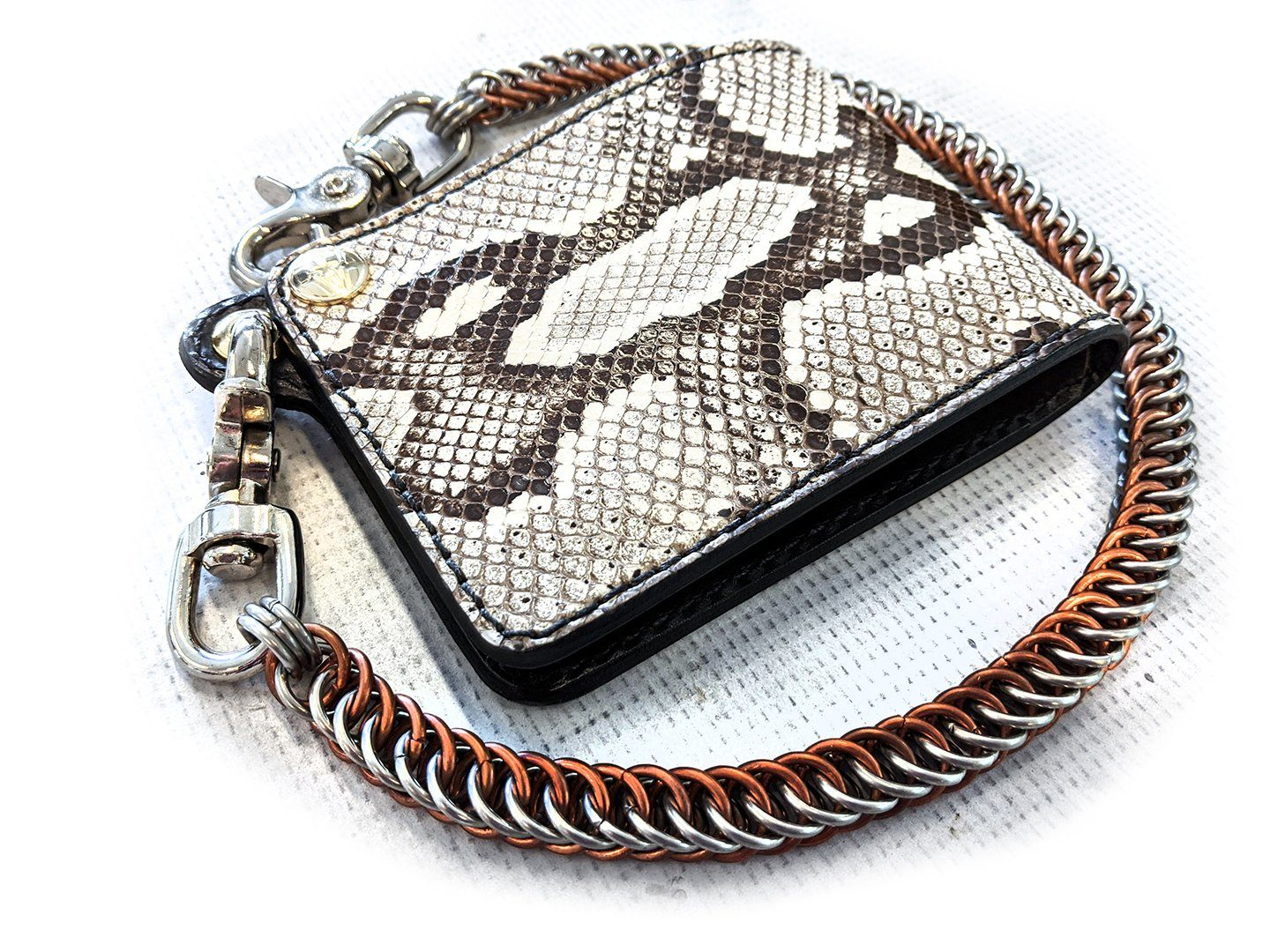 Bifold Leather Chain Wallet - Cappuccino Cobra