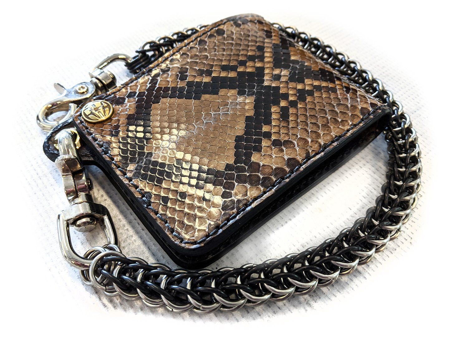 Bifold Leather Chain Wallet - Cedar Python