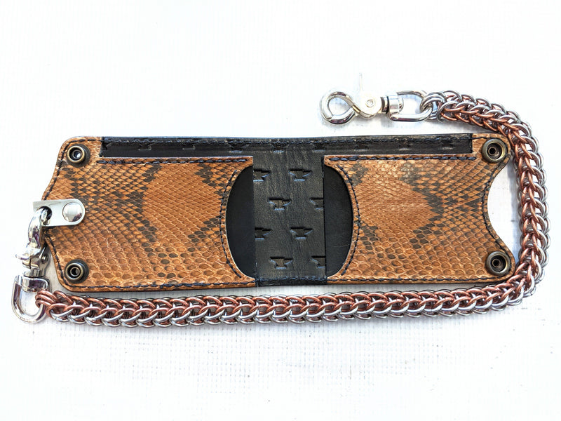 Bifold Leather Chain Wallet - Coffee Python - Anvil Customs