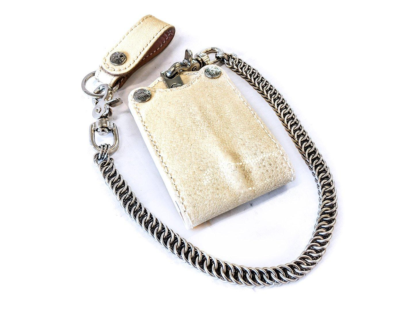 Bifold Leather Chain Wallet - Cream Stingray