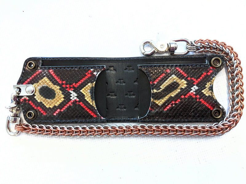 Bifold Leather Chain Wallet - Damballa Python - Anvil Customs