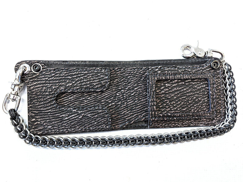 Bifold Leather Chain Wallet - Dark Brown Shark