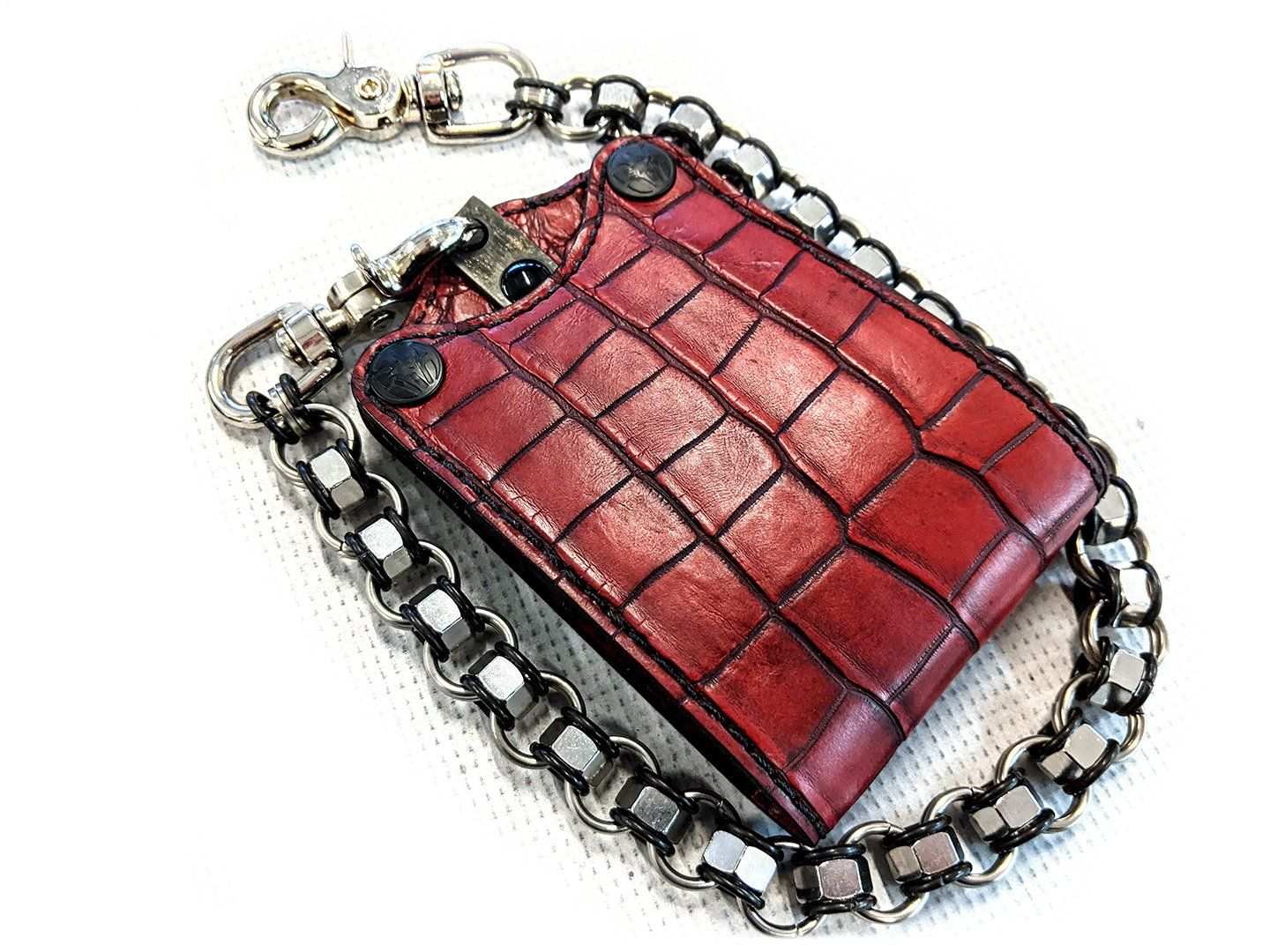 Bifold Leather Chain Wallet - Dragon's Blood Red Alligator 3