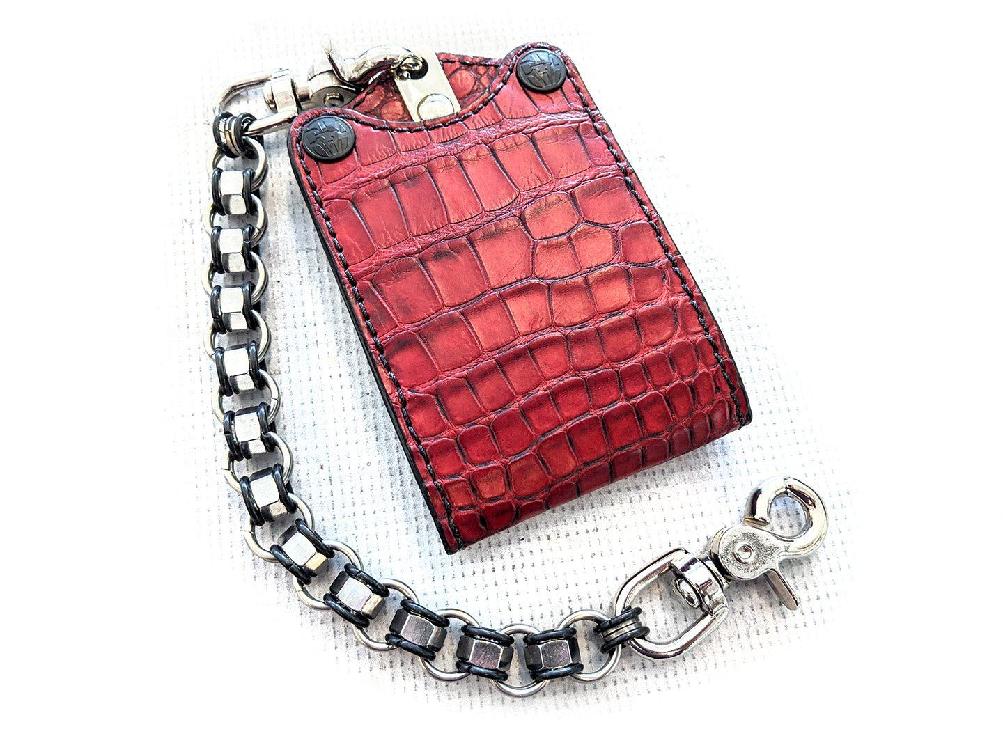 Bifold Leather Chain Wallet - Dragon's Blood Red Alligator