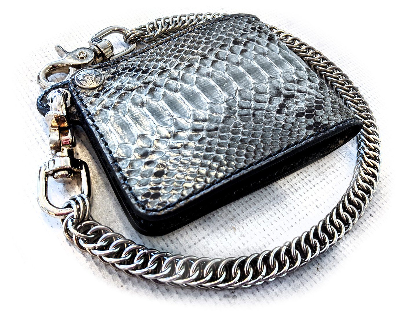 Bifold Leather Chain Wallet - Earl Grey Python