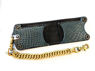 Bifold Leather Chain Wallet - Forest Green Alligator 1 - Anvil Customs