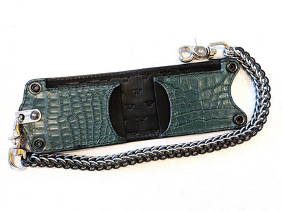 Bifold Leather Chain Wallet - Forest Green Alligator 2 - Anvil Customs