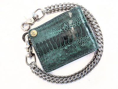 Bifold Leather Chain Wallet - Forest Green Ostrich Leg - Anvil Customs