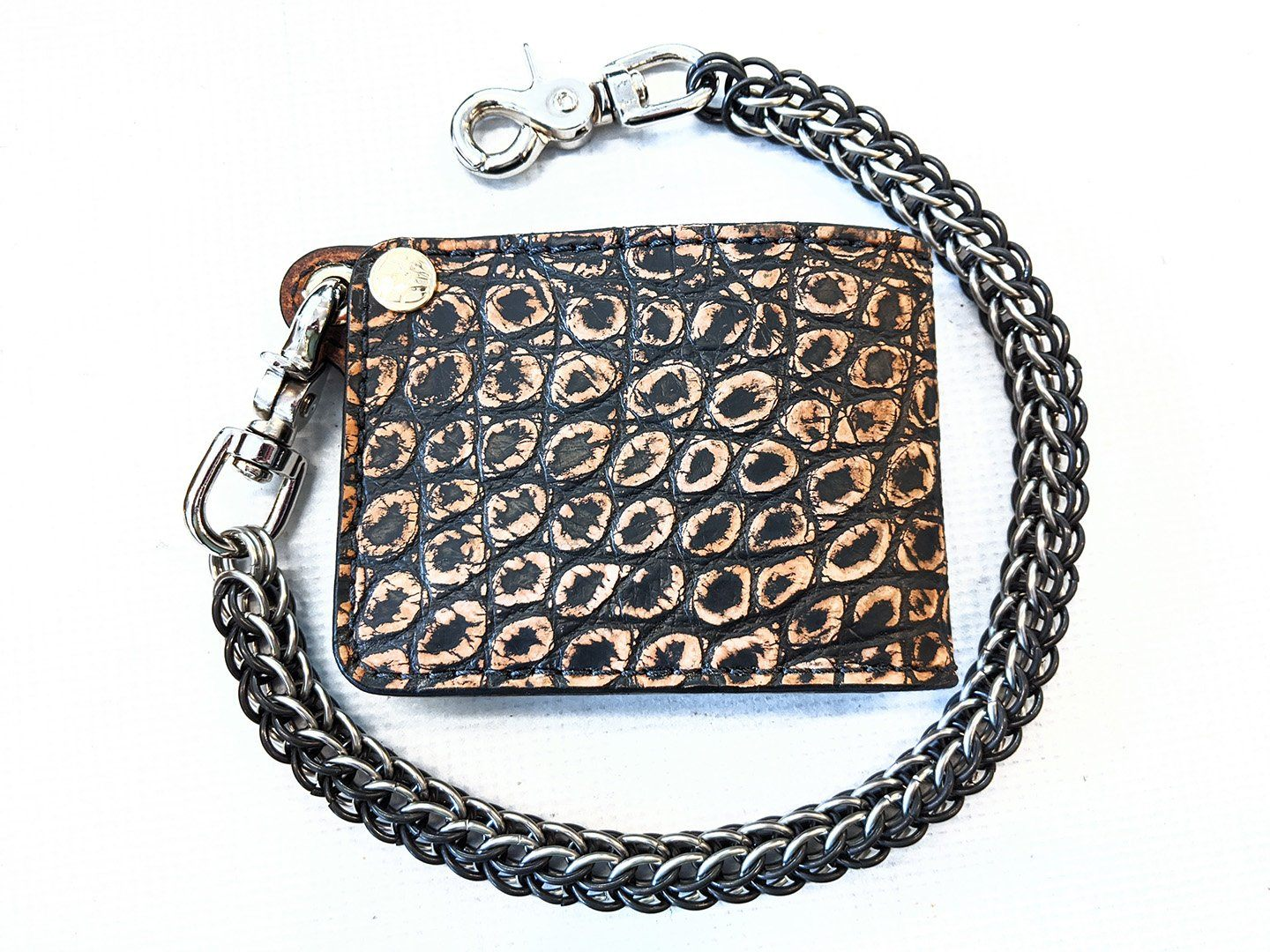 "Bifold Leather Chain Wallet - ""GoldMiner"" Alligator"