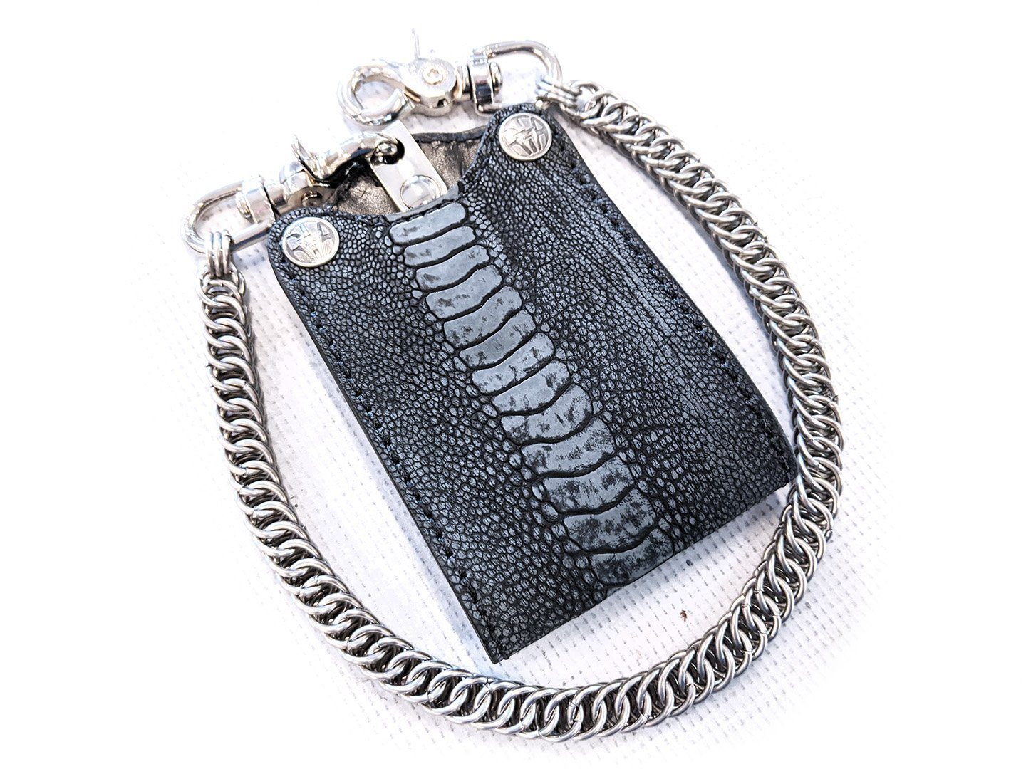 Bifold Leather Chain Wallet - Gray Nubuck Ostrich
