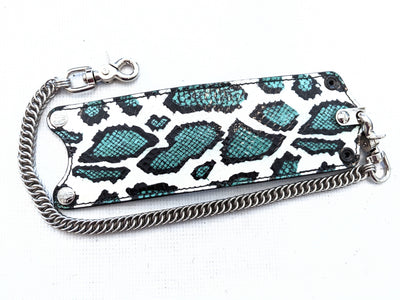 Bifold Leather Chain Wallet - Green and Black Cobra