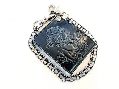 Bifold Leather Chain Wallet - Pin Up Sailor - Anvil Customs