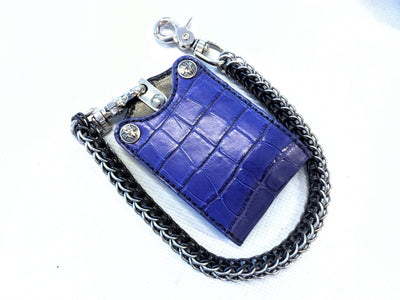 Bifold Leather Chain Wallet - Purple Alligator 1 - Anvil Customs