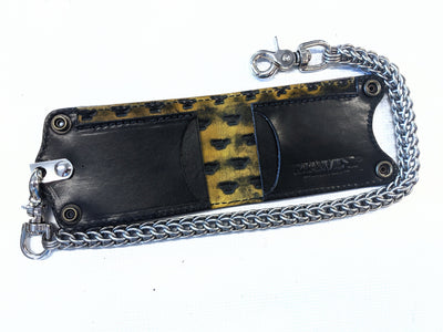 Bifold Leather Chain Wallet - Purple Alligator 2 - Anvil Customs