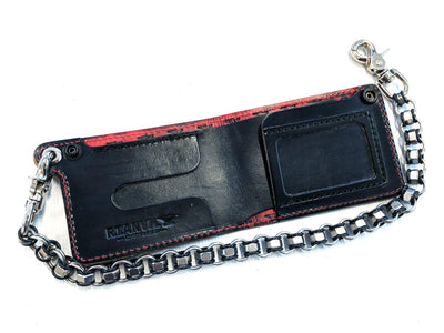 Bifold Leather Chain Wallet - Red and Black Iron Cross - Anvil Customs