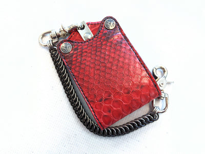 Bifold Leather Chain Wallet - Red Python 2 - Anvil Customs