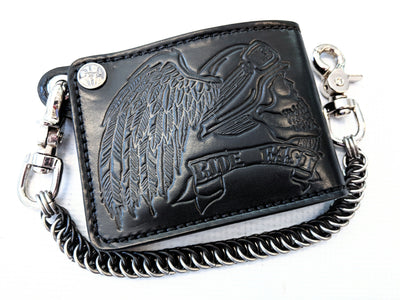 Bifold Leather Chain Wallet - Ride Fast Skull - Anvil Customs