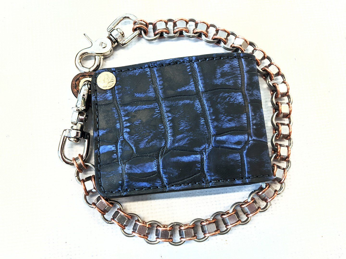 "Bifold Leather Chain Wallet - ""ShadowBlue"" Alligator"