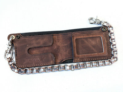 "Bifold Leather Chain Wallet - ""ShadowBlue"" Alligator - Anvil Customs"