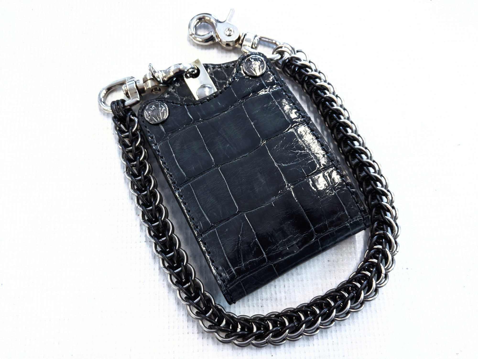 Bifold Leather Chain Wallet - Slate Gray Alligator 2 - Anvil Customs