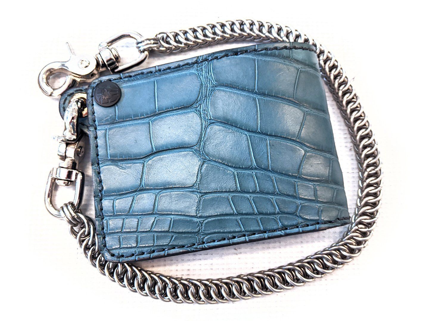 Bifold Leather Chain Wallet - Teal Alligator