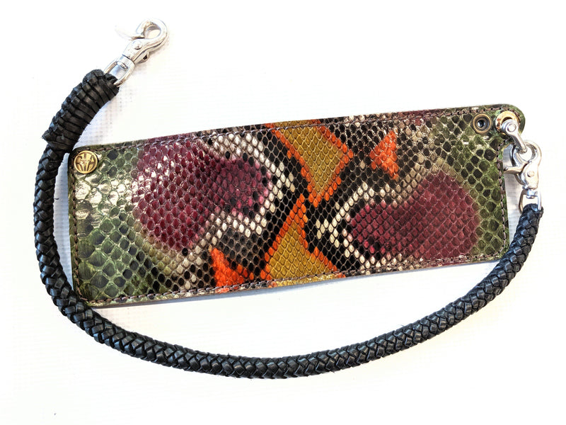 Bifold Leather Chain Wallet - Venomous Python - Anvil Customs