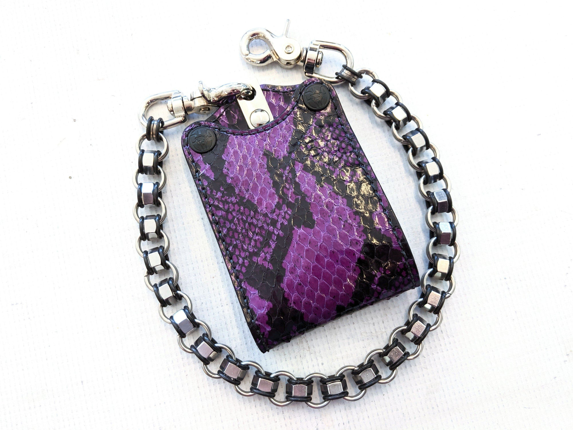 Bifold Leather Chain Wallet - Vintage Purple Cobra - Anvil Customs