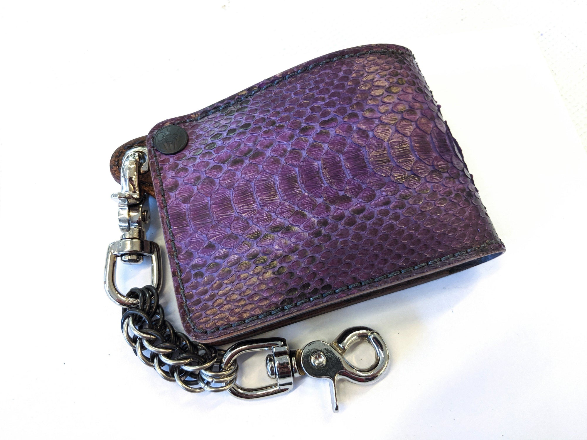 Bifold Leather Chain Wallet - Vintage Purple Python - Anvil Customs