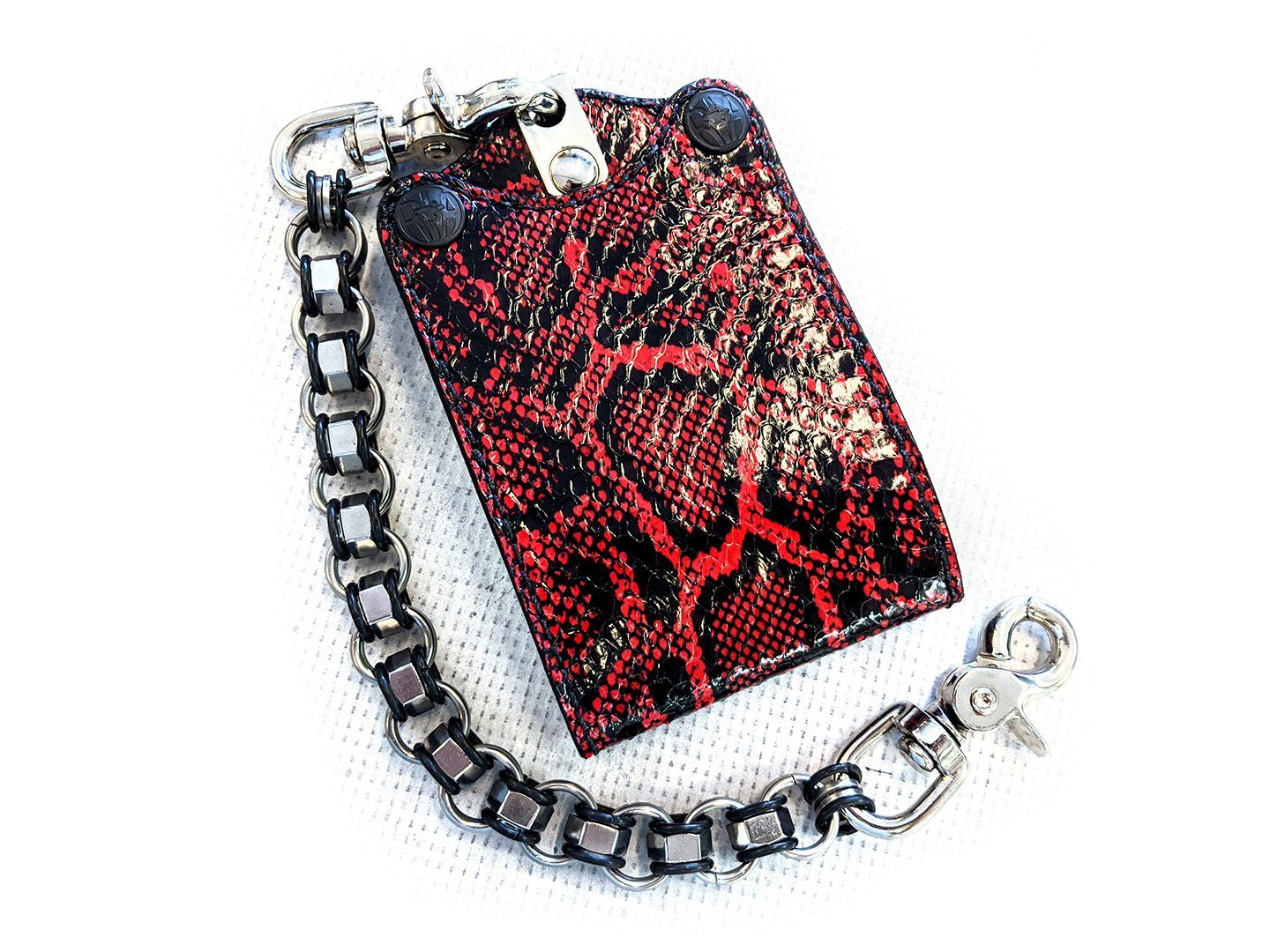 Bifold Leather Chain Wallet - Vintage Red Cobra