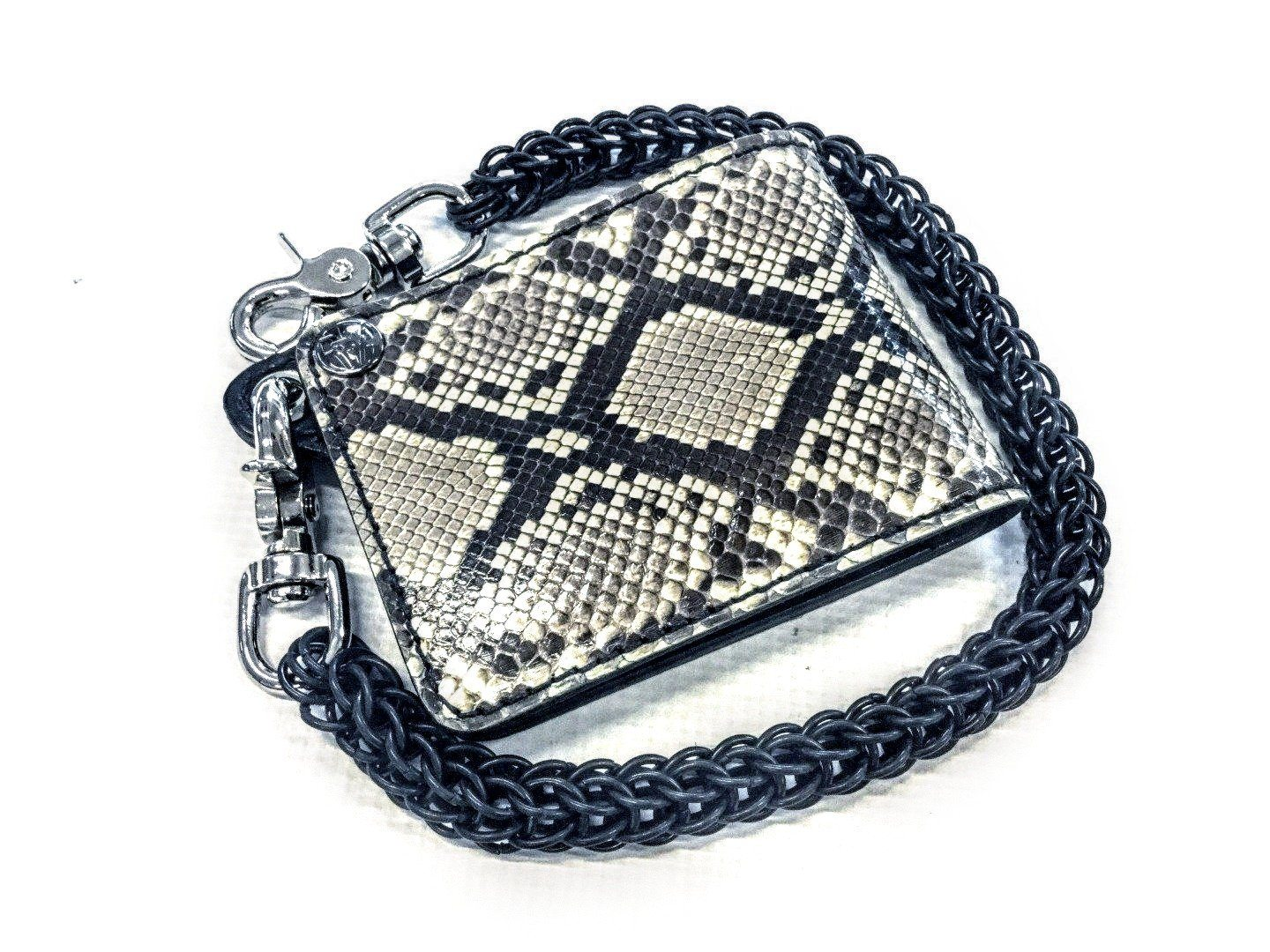Bifold Leather Chain Wallet - White Python - Anvil Customs