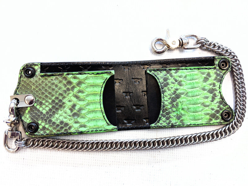 Bifold Leather Chain Wallet - Zombie Green Python - Anvil Customs