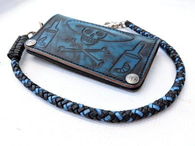 Braided Leather Wallet Chain - Blue and Black - Anvil Customs